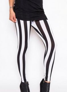 I bought these and they're literally my favorite leggings ever! Striped Leggings, Black Leggings, Black White Stripes, Black And White, I Love Fashion, Womens Fashion, Coral Tank, Chicano, Costumes