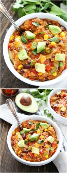 Slow Cooker Enchilada Quinoa Recipe on twopeasandtheirpod.com This is one of our favorite meals! It is SO easy and SO good!