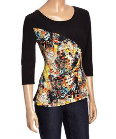 Another great find on #zulily! Black & Orange Abstract Scoop Neck Top - Women & Plus #zulilyfinds