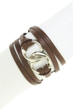 Double Link Leather Wrap Bracelet