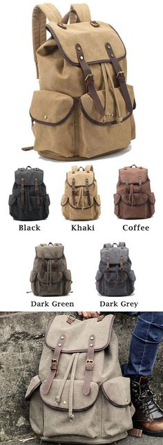 Retro Leather Strap Rucksack Thick Canvas Large Travel College Backpack for big sale! #strap #retro #backpack #Bag #large #canvas #school