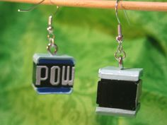 Super Mario Earrings - POW Block. $5.00, via Etsy.