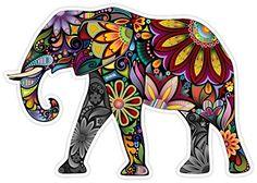 Cheerful Elephant Cartoon Art Decor Vinyl Decal Sticker 4″x5″ – Friendly Faces