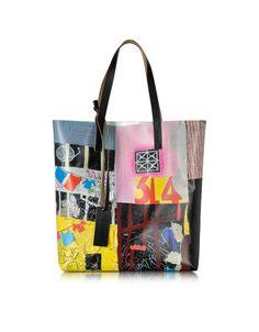 Marni Bordeaux Roger Mello Print PVC Shopping Bag at FORZIERI