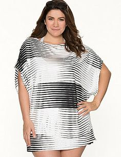 Metallic stripes and a trendy dolman silhouette make this cover-up tunic an eye-catching finish to your swim style. Draping short sleeves and a boat neckline complete the look.  lanebryant.com