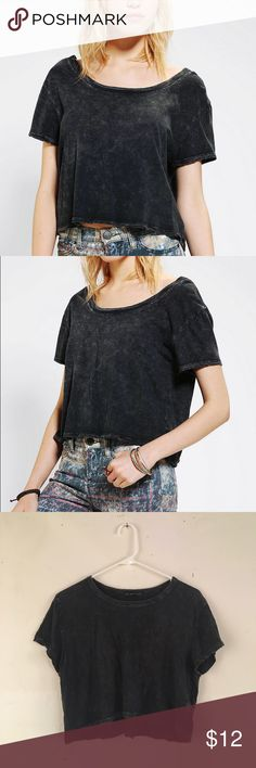 Black Acid Wash crop top Black acid wash crew neck crop top from urban outfitters. Loose fit, soft material. I wore as a baggy crop tee. Size L. Good condition. Urban Outfitters Tops Crop Tops