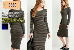 Vestido Rayas-Forever 21 TALLA S