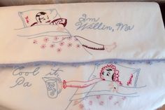 Vintage His 'n Hers Embroidered Pillow Case by SweetRepeatVintage,SOLD