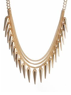 Matte Gold Spike Strand  Channel a tough-chic vibe without abandoning your penchant for sleek.  Bold spikes get a healthy dose of uptown redone in a matte finish.