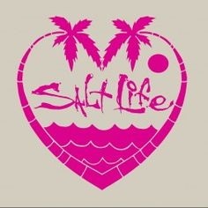 The Salt Life Palmtree Love decal is made from die cut UV rated vinyl and features a heart created by the palm trees with water and the moon. Tree Decals, Vinyl Decals, Car Decals, Wall Stickers, Yeti Decals, Silhouette Cameo Projects, Silhouette Design, Beach Silhouette, Vinyl Crafts
