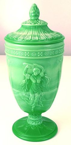 Fenton 9 3/4 inch Chameleon Green Dancing Ladies Urn