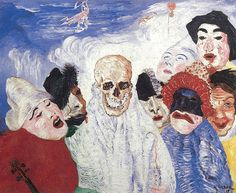 James Ensor, 1897 /// Symbolism: - emphasis on emotion and feeling - subject matter often reflects dram world, melancholy, an death - symbols used to represent ideas and subjects /// In this painting: - dark facial emotions (ex. women on left seems pained) - subject of death; people seem to be in the clouds - symbol of death; skull face