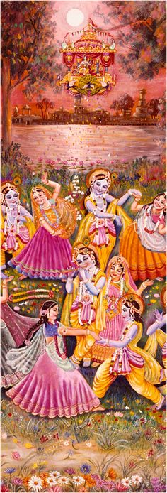 Kṛṣṇa's rāsa dance should never be compared with any kind of material dance, such as a ball dance or a society dance. The rāsa dance is a completely spiritual performance. In order to establish this fact, Kṛṣṇa, the supreme mystic, expanded Himself in many forms and stood beside each gopī. Placing His hands on the shoulders of the gopīs on both sides of Him, He began to dance in their midst. The mystic expansions of Kṛṣṇa were not perceived by the gopīs because Kṛṣṇa appeared alone to each…
