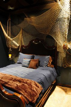 Boys Nautical bedroom - Fishing net from Nautical Antique store in San Diego