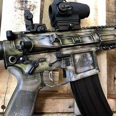 Battleworn multicam on this San Tan Tactical AR-15 #cerakote #santantactical #AR15 #battleworn #multicam #ericksonarms