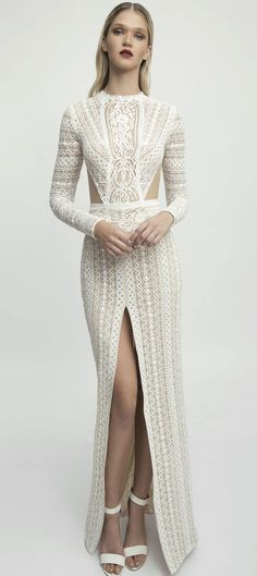 Lior Charchy NYC 2017 Bridal long sleeves high neck heavy embellishment fit and flare split front wedding dress #weddingdress #wedding #weddinggown #bridedress