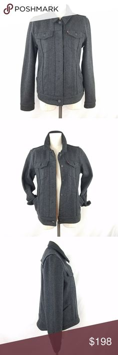 Levi's Gray Wool Trucker Jacket ✴20% OFF BUNDLES OF 3 OR MORE✴ Fully lined with soft black fleece Hidden button placket down center front  2 button flap chest pockets Button cuffs Hidden zipper waist pockets  Reflective strip on back yolk  Excellent gently used condition - like new!! Levi's Jackets & Coats