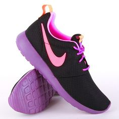 ... Pink Purple #sneakers #nike #rosherun #fashion http://www.houseofsneakerz.nl/dames-schoenen/nike-dames-schoenen/Nike-Roshe-Run-GS-Black-Pink-Purple