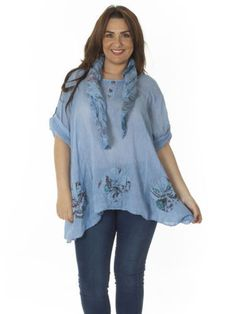 New Womens Lagenlook Quirky Floral Print Scarf Tunic Top Plus Size L 12 14 16 18