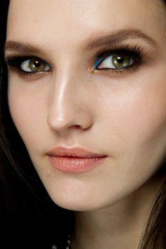 Gold & blue eye shadow.