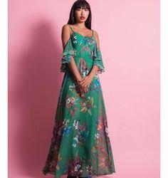 Maxi Φόρεμα με Διπλό Βολάν στα Μανίκια | Εμπριμέ Φλοράλ - Σμαραγδί