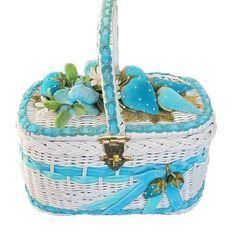 1950s Velvet Strawberries #Flowers #Wicker #Basket... | Wicker Blog    wickerparadise.com