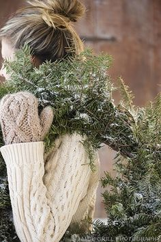 Christmas Wreaths, Snow, Mittens, Cable-Knit Sweaters.....these are a few of my favorite things.....