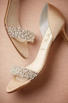 {Heels} Crystal & pearl heels from Italy #bridal #wedding #heels #crystal