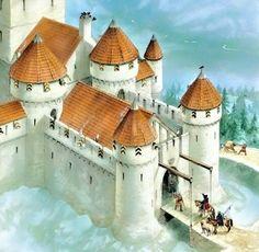 Main Castle gatehouse - Q-files Encyclopedia Medieval Houses, Medieval Life, Medieval Castle, Medieval Fantasy, Renaissance Architecture, Historical Architecture, Castle Sketch, Castle Layout, Witches Castle
