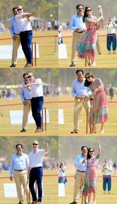 Day 1 : Second engagement : The Duke and Duchess of Cambridge play cricket during a visit to meet children from Magic Bus, Childline and Doorstep, three non-governmental organizations, at Mumbai's iconic recreation ground, the Oval Maidan, during the royal visit to India and Bhutan on April 10, 2016 in Mumbai, India.