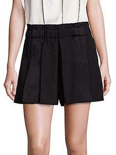 Dkny Wool Gabardine Pleated Shorts In Black Undone Look, Pleated Shorts, Saks Fifth Avenue, Skater Skirt, Elastic Waist, Short Dresses, Wool, Skirts, Clothes