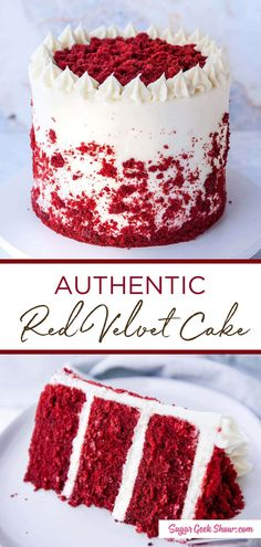 How to make an authentic moist red velvet layer cake with cream cheese frosting. If you've been wondering how to make a REAL red velvet cake, you need to try this recipe! Red velvet cake isn't just chocolate cake with red food coloring! True southern red velvet cake from scratch has buttermilk, vinegar, a little cocoa powder and a little vinegar that makes this cake super moist. #redvelvet #cake #recipe #fromscratch #oldfashioned #classic #creamcheese #frosting #moist #fluffy baking #homemade Real Red Velvet Cake Recipe, Homemade Red Velvet Cake, Red Velvet Recipes, Best Red Velvet Cake Recipe From Scratch, Red Velvet Desserts, Red Velvet Cake Recipe No Food Coloring, Cake Recipes From Scratch, Angel Food, Bolo Red Velvet