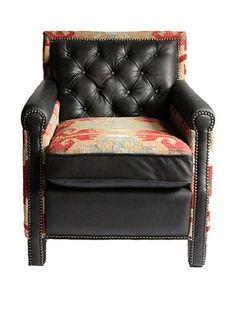 -42,850% OFF Melange Home Waverly Top-Grain Leather Armchair, Mountain Black/Multi