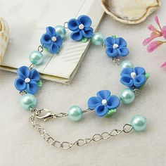 Fashion Bracelet, with Handmade Polymer Clay Flower Beads, Glass Pearl Beads and Alloy Lobster Claw Clasps, Cyan