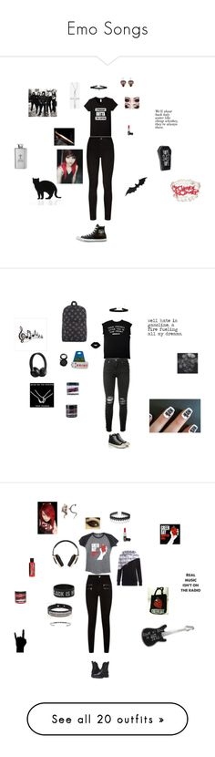 """""""Emo Songs"""" by falloutgirllovesnicodiangelo ❤ liked on Polyvore featuring Hot Topic, Manic Panic NYC, Paige Denim, 157+173 designers, Sykes, AMIRI, Converse, Frye, Pink Box and Pryma"""