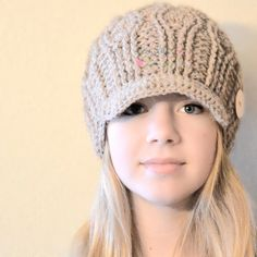 Crochet Lara Hat, Crochet Woman's Hat, Crochet Teen Hat, Crochet Visor Beanie