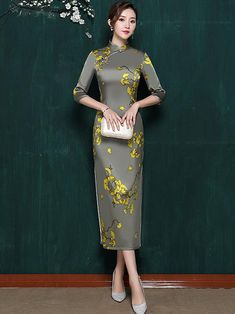 Black Lace See-through Split-side Short Cheongsam – uoozee Satin Dresses, Dresses With Sleeves, Cheongsam Dress, Long Shirt Dress, Types Of Collars, Ao Dai, Mulberry Silk, Classic Outfits, Fashion Outfits