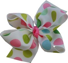 Multi Large Dots Hair Bow