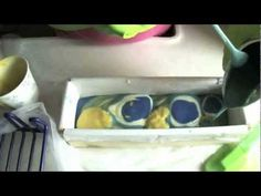 Soap making (faux funnel swirl) and cutting - YouTube