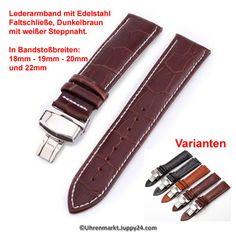 Lerderband mit Faltschließe in Edelstahl - Dunkelbraun mit weißer Pocket, Watches, Leather Cord, Dark Brown, Stainless Steel, Get Tan, Wristwatches, Clocks, Bag