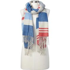 Gap Women Cozy Modal Stripe Scarf ($40) ❤ liked on Polyvore featuring accessories, scarves, blue grey, regular, striped scarves, blue shawl, grey shawl, blue scarves and gray scarves