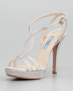 Satin Crystal Strass T-Strap Sandal by Prada at Neiman Marcus. Lovely evening shoes that don't look like porno pumps. Fancy Shoes, Pretty Shoes, Formal Shoes, Me Too Shoes, Bling Shoes, Prom Heels, Wedding Heels, Neiman Marcus, Homecoming Shoes