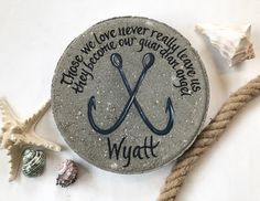 PERSONALIZED Memorial Stone, Nautical Memorial Gift, Fish Hooks, Blue Anchor Hooks, Beach, Garden Stone, Memorial Garden, Sympathy GIfts, 12 by samdesigns22 on Etsy Wedding Gifts For Parents, Great Wedding Gifts, Memorial Garden Stones, Sympathy Gifts, Memorial Gifts, Diy Projects For Beginners, Bereavement Gift, Wedding Ornament, Nautical Gifts