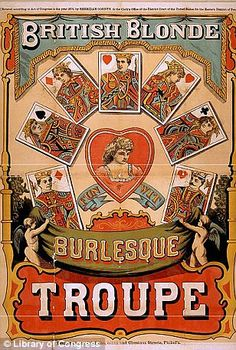 Add appeal to your visual landscape with this Global Gallery British Blonde Burlesque Troupe 1870 Wall Art . This vintage advertisement is for a burlesque. Vintage Circus Posters, Carnival Posters, Vintage Advertising Posters, Vintage Travel Posters, Vintage Advertisements, Vintage Ads, Retro Posters, Carnival Signs, Vintage Style