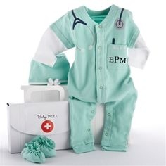 Baby M.D. Three-Piece Layette Gift Set - http://www.gotobaby.com/ - Try giving the personalized Baby M.D. Three-Piece Layette Set in doctor's bag gift box as a baby gift.