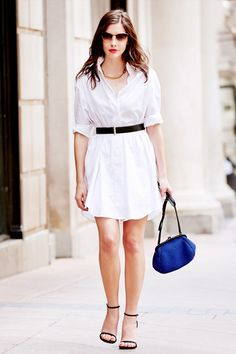 What Wear - 3 Effortless Ways to Style Your Little White Dress Love Fashion, Girl Fashion, Fashion Ideas, Street Chic, Street Style, Buy Dress, Shirt Dress, All White Outfit, Little White Dresses