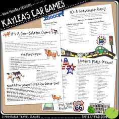 road trip games -- scroll down on page for printable
