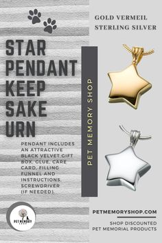 This Star Pendant Keepsake Urn has a threaded screw in the center of the back. The engraving can be done on the front with up to three characters (engraving not included). Pet Memorial Jewelry, Keepsake Urns, Star Pendant, Pet Memorials, Silver Stars, Black Velvet, Characters, Cards, Gifts
