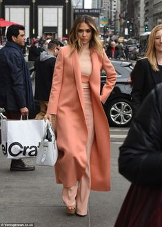 You go girl! Jessica Alba headed to her speaking gig at Morgan Stanley's Executive Women's Conference in New York City on Tuesday