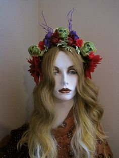 My Garden: Day of the Dead Headpiece Skulls with by MorticiaSnow